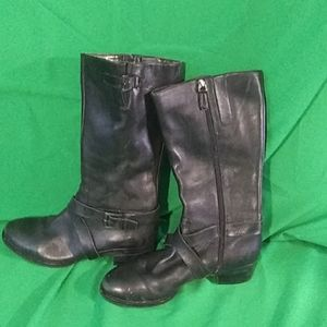 Ecco sz 7 black leather calf length boots